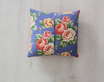 Pink Floral Pillow with Down Insert