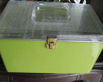 Vintage Sewing Box Wil-hold Plastic Caddy Organizer Made in USA Excellent Condition Two Trays Apple Green