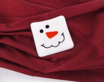 Small, 3 Inch Square, Fused Glass, Snowman Trinket, Ring Dish