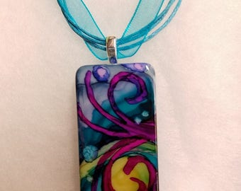 Alcohol Ink Hand Painted Domino Necklace Geranium FREE SHIPPING