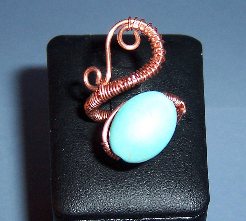 Copper Wire Woven Adjustable Ring With Turquoise Bead ...