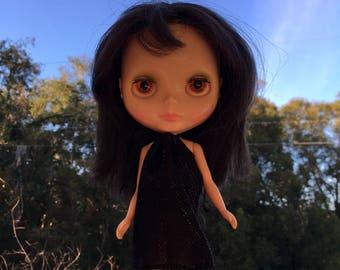 Shiny Black Mod Blythe Doll Floaty Dress (Tent/Trapeze/GoGo/Groovy/1960s/Vintage Fabric)