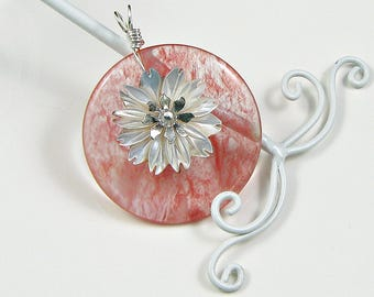 Strawberry Quartz Pendant Wire Wrapped in Sterling Silver Black Lip Shell Daisy Pendant Ooak workplace Jewelry Gift for Her Reward Yourself