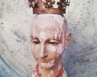 Santos Cage Doll Metal Crown Diadem with Flowers and Faux Pearls