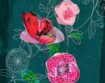 Floral Lines Wall Art Print botanical illustration