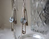 Unusual Upcycled Earrings - Buttons, Safety Pins and Pearls