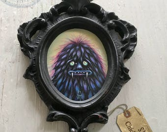 "Original painting - ""Sleer Chickenhammer"" miniature nice monster painting in vintage frame 2.5"" x 3"" painting"