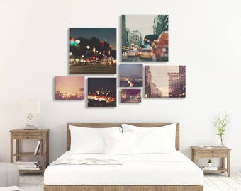 Los Angeles print set, LA City Lights, bokeh photos, photography, wall cluster art, Hollywood DTLA, twinkle lights, sparkle, discount set