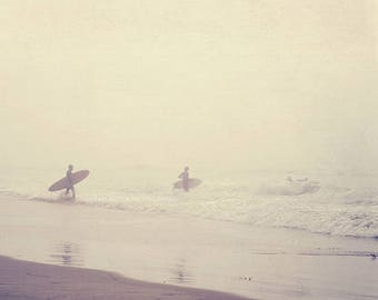 Venice beach photography, surfer photograph, evolution, California, ocean foggy morning grey seaside water, surfboard, dorm decor, for him