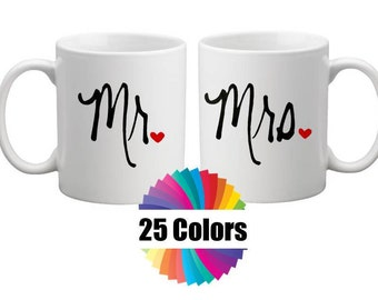 Coffee Cup Mug Decal, Mr and Mrs, Decals, Yeti, Tumbler, Acrylic Cup, DIY Wedding Gift, His and Hers Gift Choose From 25 Colors