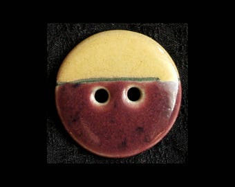 Handmade Ceramic Buttons: Deep Purple and Butter Yellow for Your Felt or Weaving