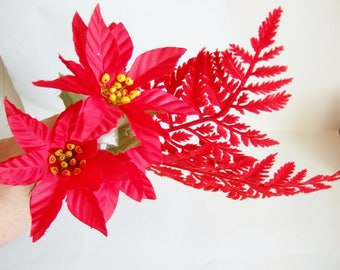 Kitsch Poinsettia  and Red Flocked Leaves - Vintage Plastic Foliage and Artificial Flowers Ideal for Christmas Crafts or Decoration