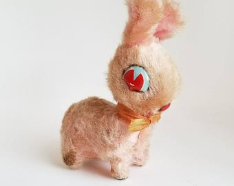 Vintage Mechanical Hopping Pink Bunny Rabbit