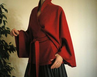 Red Wool Cape - Ponchos -  Cloak -  Jacket -  Coat with Belt, No.1