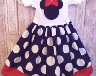 MINNIE MOUSE, disney dress, birthday minnie party dress, navy blue white dot cruise, girls minnie dress, 1st birthday party, minnie dress