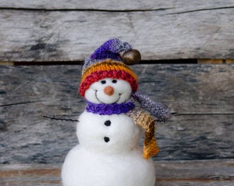 Needle Felt Snowman - Needle Felted Snowman - Christmas Snowman - Christmas Decoration - Christmas Decor -  Wool Snowman - Winter Décor -854