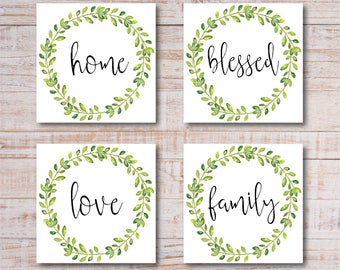 Instant Digital Download Printable Farmhouse Style Square Prints - Blessed, Family, Home, Love - Set of 4