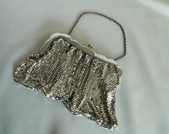 WHITING & DAVIS Silver Mesh Purse (Unlined) with Chain Handle