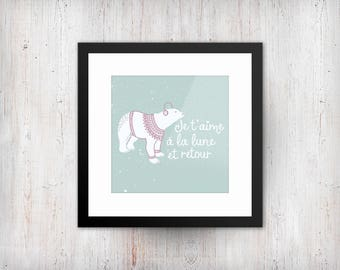 Polar bear- je t'aime a la lune et retour  PRINTABLE wall art,download,child,gift print,fun,play room, French, square, 12 x 12 scale print