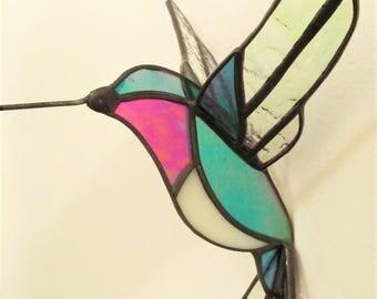 Stained Glass 3D Hummingbird Suncatcher