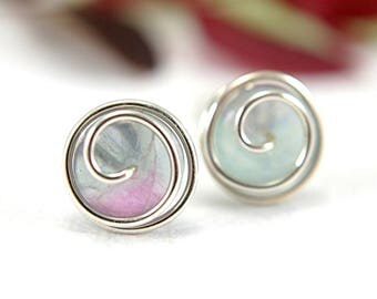 Fluorite rosebud post earrings purple green clear 925 sterling silver wire wrapped spiral swirl light lavender gemstone 10mm medium size