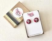 SF 49er  Button Earrings, Sports, Football Jewelry, NFL, Earrings, Button Accessory, Child Earrings, Stud Earrings, Post