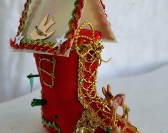Vintage Christmas Tree Ornament, Handmade, Shoe House, Kitschy and Cute