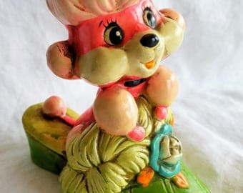 Vintage Holiday Fair Piggy Bank, Pink Poodle in Green Slipper, Sweet!