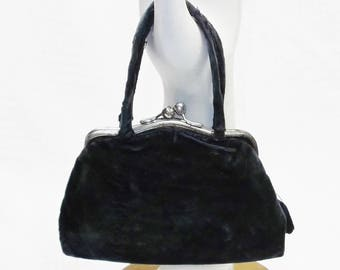 Antique Edwardian Small Blue Velvet Purse or Handbag c 1910