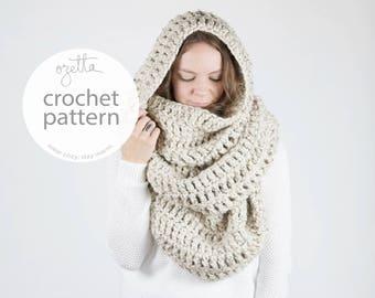 Crochet Pattern / Extra Large Blanket Scarf, Huge Chunky Infinity Scarf, Oversized Shawl Hood / THE ALASKAN