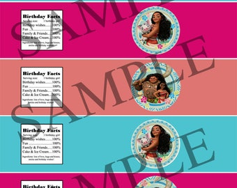 Moana water bottle labels printable for birthday party - instant download!