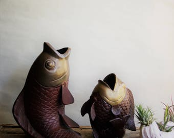 Vintage Brass Koi Fish Figurines Mid Century Modern Decor Fathers Day Gift for Him