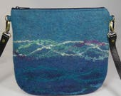 Felt Messenger Bag, Felt Cross Body Bag, Felt Handbag, Felt Bag, Felt Purse, Messenger Bag, Cross Body Bag, Shoulder Bag, Blue Wool Felt Bag