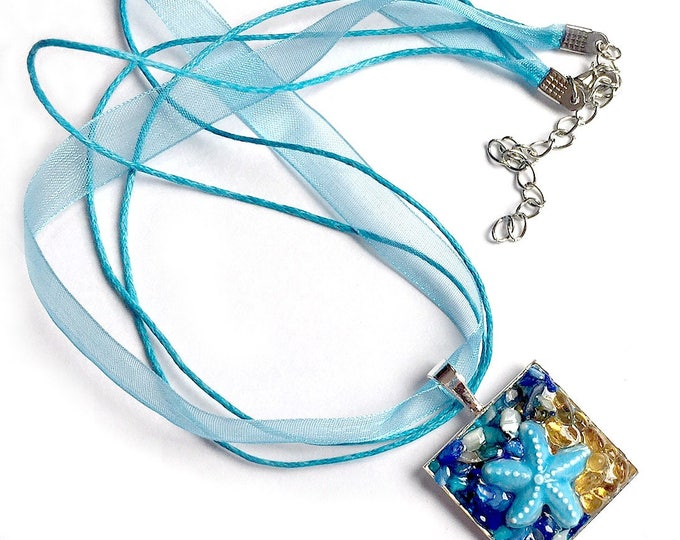 Starfish Ribbon Pendant Necklace, Starfish Pendant with Organza Ribbon, Aqua Blue Sea Star Pendant, Sand and Sea Starfish Choker Pendant