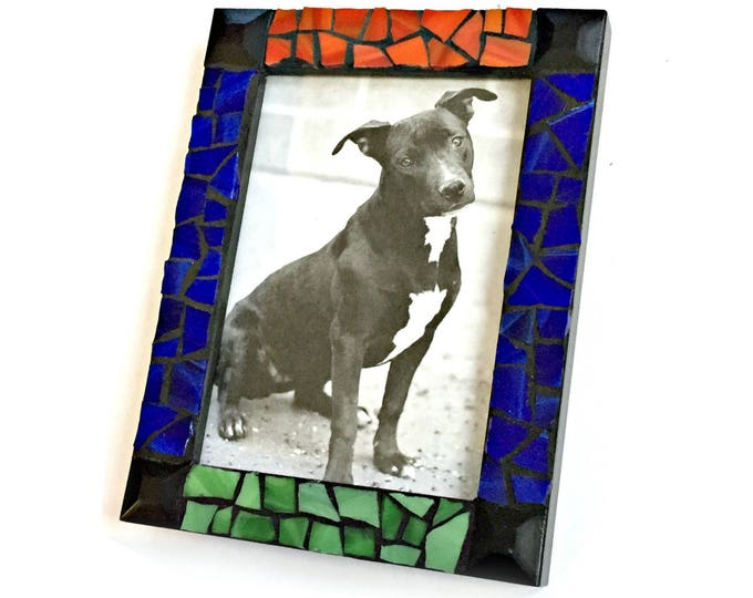 Mosaic Picture Frame, Black Red Green Blue Mosaic Frame, 5x7 Mosaic Frame, Hand Cut Glass Mosaic Frame, Primary Color Handmade Mosaic Frame