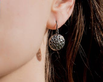 Perforated sterling silver earrings, antiqued, round 15mm.