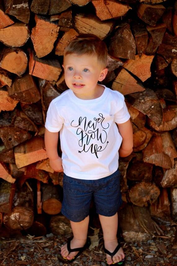 Never Grow Up Boy First Birthay Baby Shirt Adventure Toddler Hiking Camping Little Man Tee Shirt 6MO 12MO 18MO 24MO