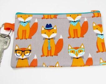 Cute Fox, wristlet wallet, smartphone wristlet, wristlet for iphone, iphone wristlet case, cellphone wallet, wristlet keychain