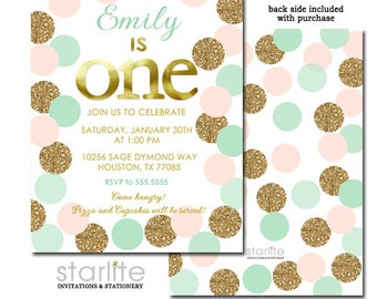 Blush Pink Mint Gold Glitter 1st First Birthday Invitation Girl Confetti Dots Printable Digital or Printed Girl Birthday Party Invite