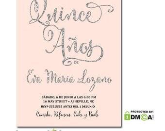 Quince Años Invitation | 15 Años Party Invitation | Invitación de Quinceañera | Pink Silver Glitter Quince Invitation | Spanish or English