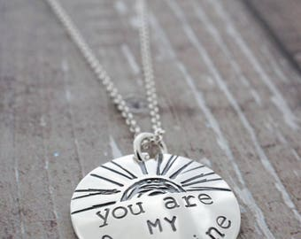 You Are My Sunshine Necklace - Custom Charm Necklace in Sterling Silver by Eclectic Wendy Designs - Valentine Gift for Daughter