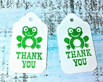 Thank you tags, frog gift tags, Wedding favor tags, Bridal favor tags, Shower favor tag, Personalized Tag, Set of 10 tags, Favor tag set