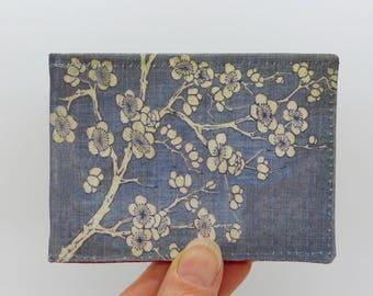 Oyster card holder, bus pass holder, travel card holder, wallet. Japanese blossom wallet. Card wallet, Oyster card wallet, card holder.