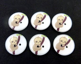 "6 Sloth Buttons. 3/4"" or 20 mm. Washable Sewing, Knitting and Crafting Buttons.  Novelty Buttons."