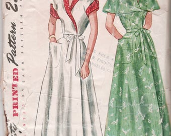 Simplicity 2845 1940s Misses Easy Wrap Housecoat Dress Pattern Shawl or Capelet Collar Womens Vintage Sewing Pattern Size 16 Bust 34
