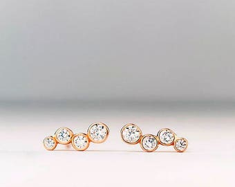 Solid Gold Ear Climbers Round CZ Earrings Dainty solid 14k Quadruple Diamond post earrings gift for her womens gift for wife