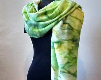 Green Pashmina Wrap With Fringe, Pashmina/Silk, Abstract Wrap, Large Scarf, Handpainted Wrap, 22x68 inches, Unisex Wrap, LIMITED EDITION