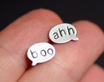 """Spooky """"Boo"""" """"Ahh"""" Talk Bubble Stud Earrings, Halloween Jewelry, Spooky Jewelry, Sterling Silver Earrings, Hand Stamped Oxidized Silver"""