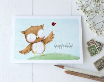 "greeting card - card -owl - lady bug - friends - birthday - thank you - thinking of you - ""Best of Friends!"""