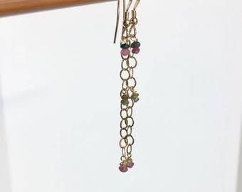 Gold Filled earrings, gold dainty earrings, Tourmaline earrings, bridesmaid earrings, extra long earrings